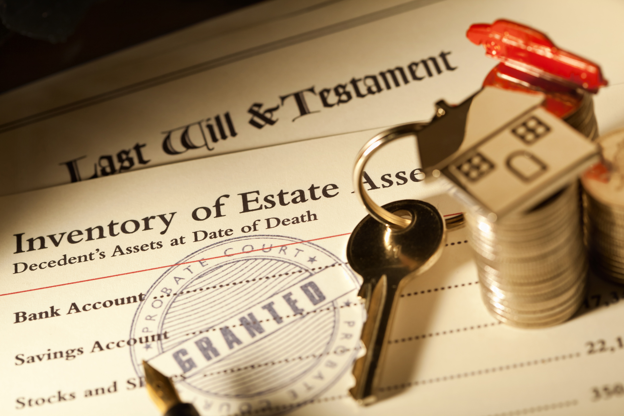 """Probate granted on a Last Will & Testament at a Probate Court. The first step in the legal process of administering and transferring ownership of the estate of a deceased personaas wealth, including savings, antiques, property and cars, as designated in the deceasedaas will.  A Probate Court decides the legal validity of the testatoraas will and grants approval thereof to the executors to legally distribute the estate according to the will."""